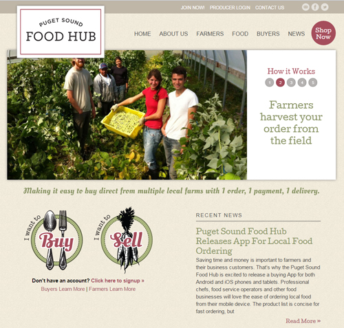Puget Sound Food Hub Website Screenshot