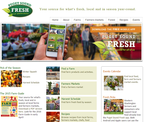 Puget Sound Fresh Website Screenshot