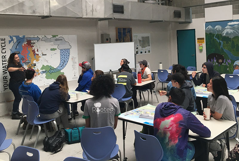 Rooted Teens learn about the wastewater treatment process