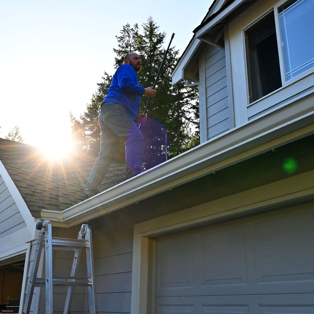 If you are able, get on your roof to clear fine fuels.